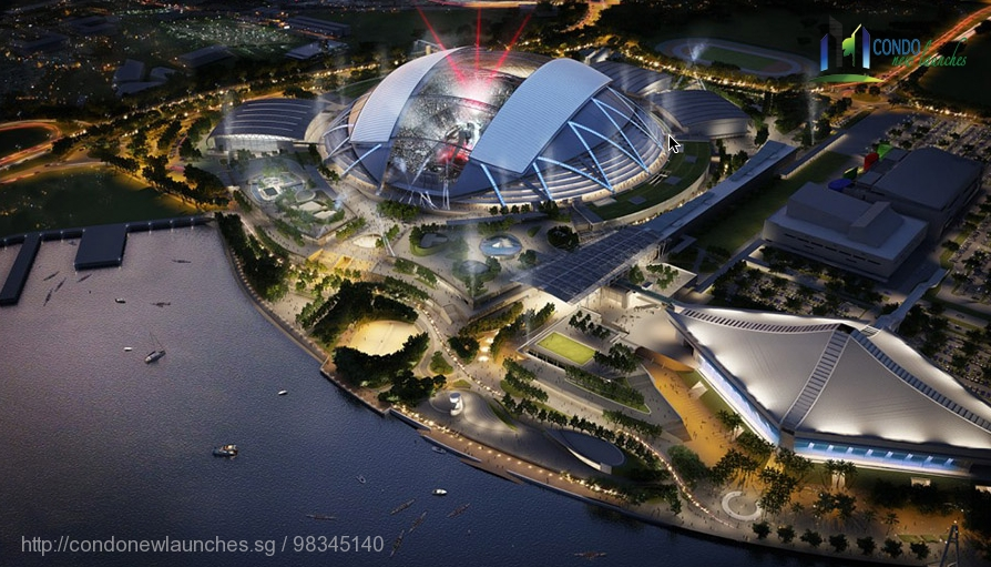 new sports hub night scene at kallang riverside